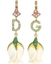 Dolce & Gabbana Dg Embellished Tulip Earrings - Green