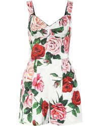 Dolce & Gabbana Rose Print Jumpsuit - White