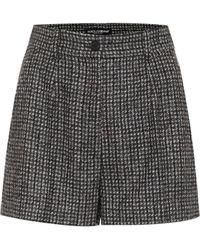 Dolce & Gabbana Karierte Shorts mit Wollanteil - Grau