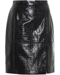 MSGM Embossed Faux Leather Skirt - Black