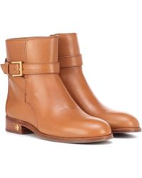 d5d385ca68e0 Lyst - Tory Burch Leather Ankle Boots in Brown