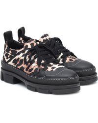 Ganni Leopard-print Nylon Trainers - Black