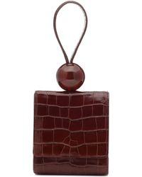 BY FAR Ball Croc-effect Leather Clutch - Brown