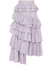 Ulla Johnson Gaelle Ruffled Cotton Midi Skirt - Purple