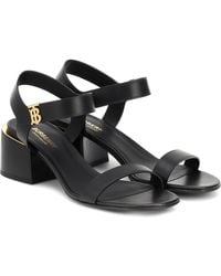 Burberry Hollywell Leather Sandals - Black