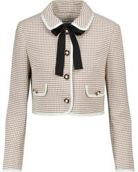 Self-Portrait Embellished Checked Cropped Jacket - Multicolour