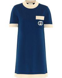 Gucci Minikleid Aus Wollstrick - Blau