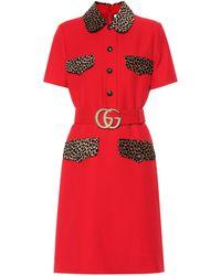 Gucci Minikleid aus Wolle und Seide - Rot