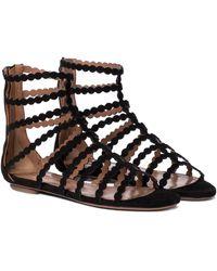 Alaïa Laser-cut Suede Sandals - Black