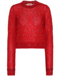N°21 - Embellished Mohair-blend Sweater - Lyst