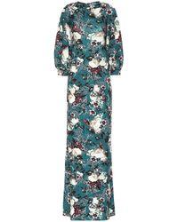 Erdem Robe de soirée fleurie Etheline Eastbury - Vert