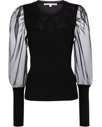 Veronica Beard Leila Merino Wool And Silk Organza Sweater - Black