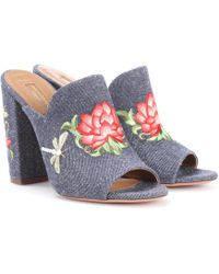 Aquazzura - Lotus 105 Embroidered Denim Mules - Lyst