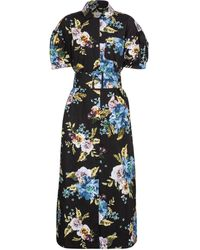 Erdem Frederick Floral Cotton Poplin Midi Dress - Blue