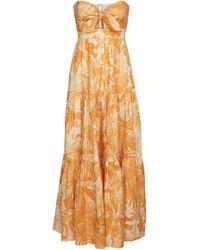 Zimmermann Vestido largo Mae de lino estampado - Amarillo