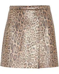 Stouls Santa Leopard-print Suede Miniskirt - Natural