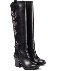 Sacai Embroidered Leather Knee-high Boots - Black