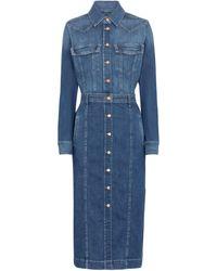 7 For All Mankind Luxe Denim Shirt Dress - Blue