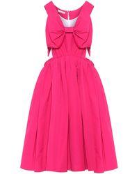 Marni Bow-trimmed Cotton-blend Midi Dress - Pink