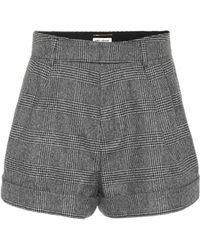 Saint Laurent - Checked Wool Shorts - Lyst