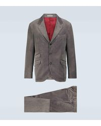 Brunello Cucinelli Cordanzug aus Baumwolle und Kaschmir - Grau