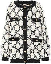 Gucci Oversized Tweed Cardigan - White