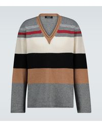 Undercover Colorblocked V-neck Sweater - Gray