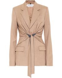 Gabriela Hearst Grant Wool Wrap Blazer - Natural