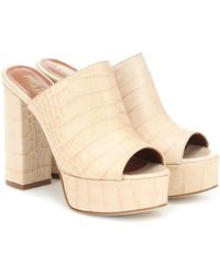 Paris Texas Croc-effect Leather Platform Sandals - Natural