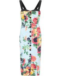 Carolina Herrera Floral Stretch-cotton Midi Dress - Blue