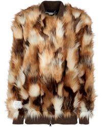 Stella McCartney Mantel aus Faux Fur - Braun