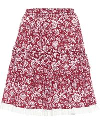 See By Chloé High-rise Floral Cotton Miniskirt - Red