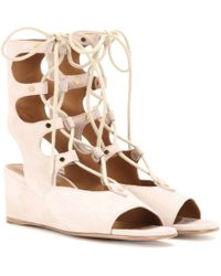 Chloé Foster Suede Gladiator Wedge Sandals - White