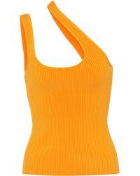 Zimmermann Brightside Asymmetric Ribbed-knit Tank Top - Orange