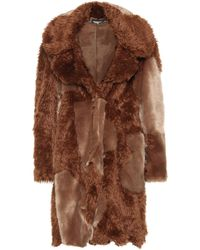 Stella McCartney Coat Of Faux Fur Patchwork - Brown