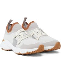 Tod's Leather-trimmed Knit Sneakers - White