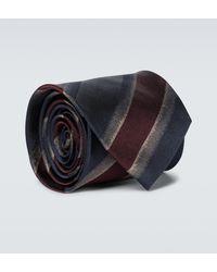 Dries Van Noten Gestreifte Krawatte aus Seide - Blau
