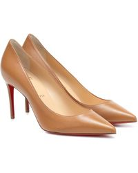 Christian Louboutin Kate 85 Leather Court Shoes - Natural