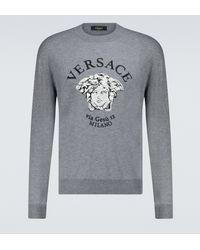 Versace Jersey Medusa en mezcla de lana - Gris