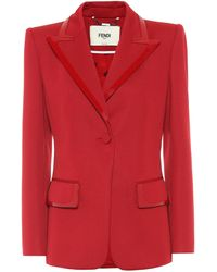 Fendi Leather-trimmed Jersey Blazer - Red