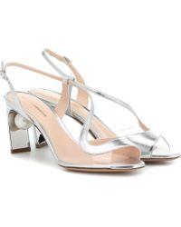 Nicholas Kirkwood Maeva Pearl 70mm Leather Sandals - Metallic