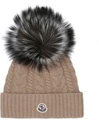 Moncler Fur-trimmed Wool-blend Hat - Natural