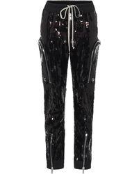 Rick Owens Bauhaus Sequined Cargo Pants - Black