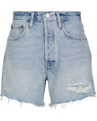 Agolde Riley High-rise Denim Shorts - Blue