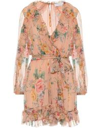 Zimmermann Zinnia Floral Silk Wrap Jumpsuit - Pink
