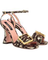 Rochas Leopard-brocade Sandals - Multicolor