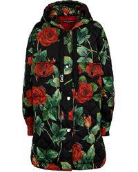 Dolce & Gabbana Manteau matelassé à fleurs - Noir