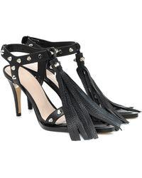 Christopher Kane Fringed And Studded Leather Sandals - Black