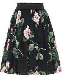 Dolce & Gabbana Falda midi de algodón floral - Negro