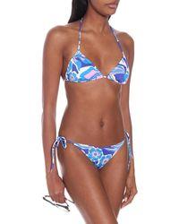 Emilio Pucci Top bikini a stampa - Blu